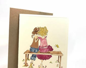 For girls, ladies, women, hang out, best friends, Friendship, BFF, hand made, water colored cards