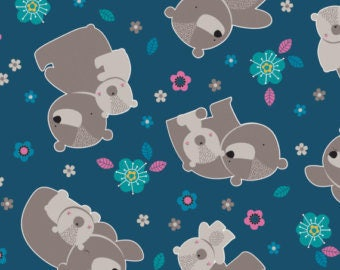 """Mama & Me Fabric Collection - Bears in Teal Fabric by Andrea Turk for Camelot Fabrics , 43-44"""" wide, 100% cotton"""