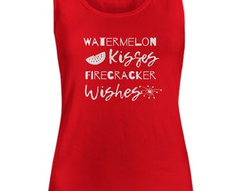 Cute Summer Top, Watermelon Kisses Shirt, Funny Firecracker tshirt, Womens Graphic Tees, America Clothing, Patriotic gifts, Red White Blue