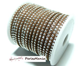 5 m cord suede rhinestone studded silver appearance suede a faceted Brown H105 row