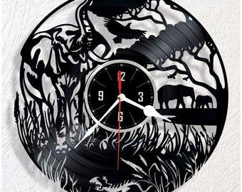 Elephant nature of Africa vinyl wall clock