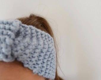 Blue wool hand knit headband