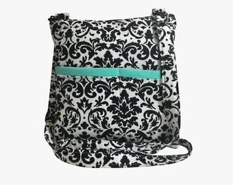 20% OFF SALE Black and White Damask Crossbody Bag // Sling Bag // Crossbody Purse // Shoulder Bag // Hipster