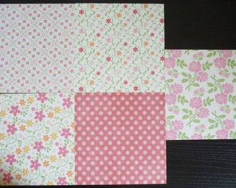 set of 5 sheets 15 x 15 cm: flowers