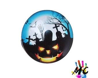 Round glass cabochon, halloween theme