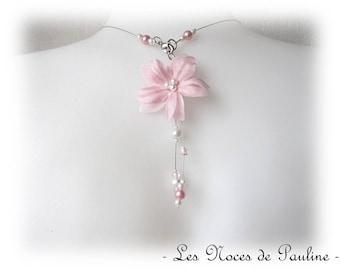 Back pink white wedding silk flowers with two pendants Eva jewel