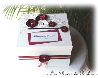 Ivory and Burgundy flowers and lace wedding urn
