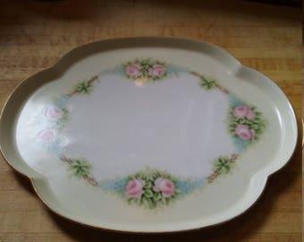 Beautiful Vintage Porcelain Rose Dresser Vanity Tray Limoges France Signed