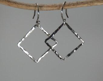 Geometric Hammered Silver earrings; Fine silver earrings
