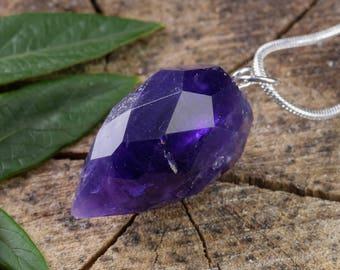 Faceted AMETHYST Crystal Pendant - Deep Purple Amethyst Pendant, Amethyst Jewelry, Amethyst Crystal Pendant, Faceted Amethyst Necklace E0541