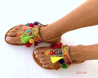 Colorful Sandals, /Carousel/ Pom Pom sandals, Colorful  Sandals, boho Sandals,Leather Sandals, Greek Sandals, Handmade Sandals