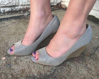 Silver sparkle wedge peep toe heels