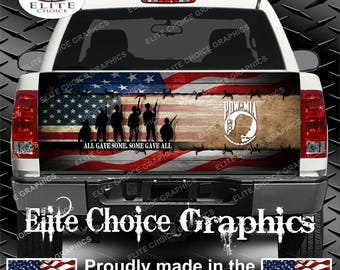 Wicked Wire POW Patriotic Vets Flag Truck Tailgate Wrap Vinyl Graphic Decal Sticker Wrap