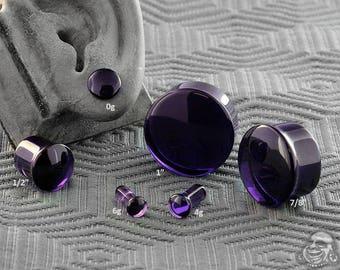 "Single Flare Royal Purple Glass Plugs 6g, 4g, 2g, 1g, 0g, 10mm, 7/16"", 1/2"" (12.5mm), 9/16"", 5/8"", 3/4"", 7/8"", 1"""