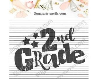 2nd grade School cookie stencil NY0146