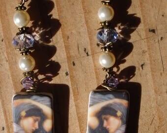 Pre Raphaelite Earrings/John William Waterhouse Earrings/Boreas/OOAK Ceramic Earrings/Swarovski Crystal + Pearl Earrings/Statement Earrings
