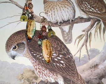 Owl Earrings~Owl Jewellery~Feather Earrings~Boho Earrings~Tribal Jewellery~Australian Seller~Ceramic Earrings~Gypsy Earrings~Wiccan Jewelry