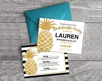 Gold Pineapple Stripes  Bachelorette Invitation | Bachelorette Invitation | Bachelorette Party | Weekend party | Hens Night