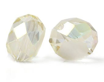 """10 """"Flat round"""" beads faceted glass 12mm Champagne color"""