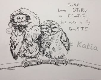 Every love story is beautiful but is my favorite bear. Love owls. Drawing size A4