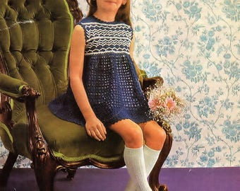 Girls Smock Dress, Crochet Pattern. PDF Instant Download.