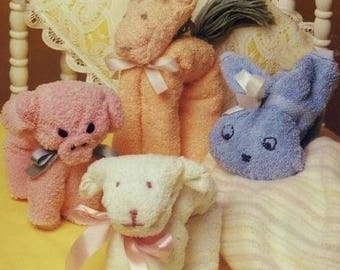 Soft Towel Toys, Easy Craft. PDF Instant Download.