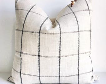 Cream and black plaid pillow cover 20x20