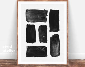 Brush Stroke Print, Abstract Wall Art, Black and White Art, Ink Painting, Abstract Painting, Modern Minimal, Abstract Poster, Modern Art