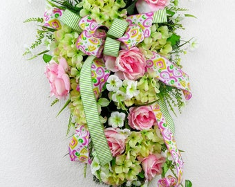 Pink floral swag etsy spring swag teardrop swag flower swag front door swag spring door swag mightylinksfo Choice Image
