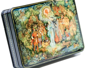 "Russian Lacquer Box - ""Snegurochka""(Fairy Tale) - Medium Size - Hand Painted in Russia"