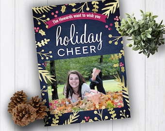 Metallic Christmas Cards, Photo Christmas Cards, Printed Christmas Cards, Holiday Photo Cards, Holly Photo Christmas Cards, Holiday Cheer