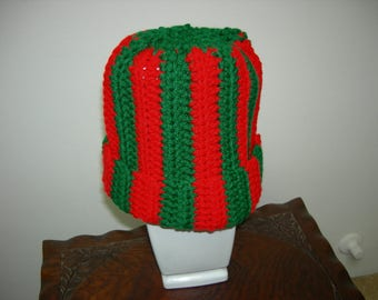 Red and Green Adult/Teen Hat, Beanie; Christmas Hat; Warm and comfortable Head Cover
