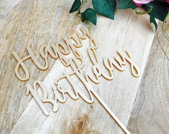 Happy Birthday Cake Topper Birthday Cake Topper Cake Decoration Cake Decorating Happy Birthday Cursive Topper SHLH Sugar Boo Cake Toppers