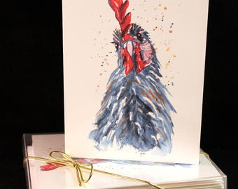 Set of Original PRINT Watercolor Rooster  Cards, Animal Note Cards/Greeting Cards (Set of Four)watercolor Cards