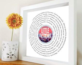 Elbow - Gentle Storm - Framed Lyrics Manchester Bands - Little fictions framed lyric print - Framed Song Lyrics