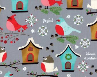 Moda Fabric - Jingle Birds by Keiki - Christmas - Gray - 32250 17 - 100% cotton fabric - Choose the length of fabric