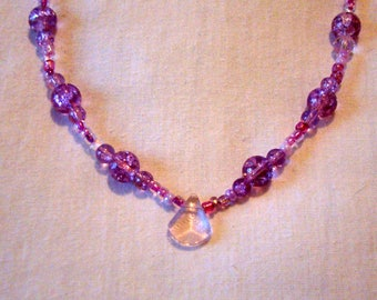 "Purple Beaded Necklace / 18"" / Crackle Glass  / Gift for Her / Lobster Clasp Closure / OOAK / Unique / Pretty"