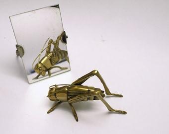 Vintage Brass Grasshopper Paperweight, Fine Details, Design Lovers