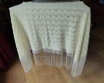 Vintage Christening Blanket, Fringed Baby Blanket, Cream and Silver Fine Wool, 1017038-406