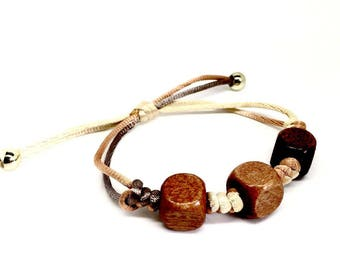 Wood Women's jewellery Brown Dice Bracelet with adjustable closure. FREE Luxurious gift box - Great quality and Gift Box, Birthday Gifts