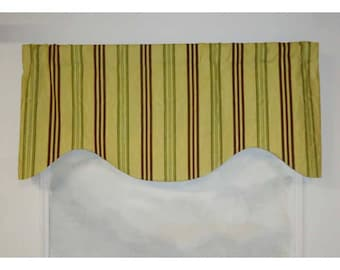 Green and Brown Stripe Shaped Valance
