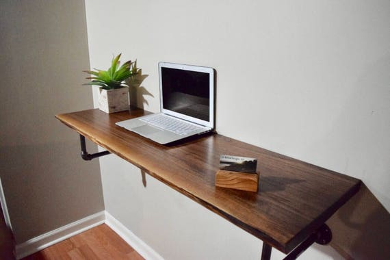 Sale item walnut live edge floating desk for Floating desk for sale