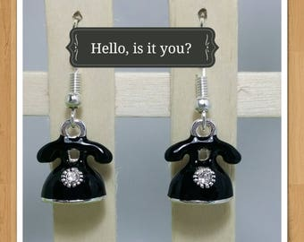BLACK TELEPHONE EARRINGS