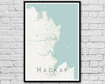 Mackay QLD City Street Map Print | Seaside Wall Art | Travel Print | Housewarming Gift | Travel Wall decor | A3 A2 | Gift for Couple