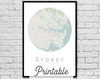SYDNEY New South Wales City Street Map Print   Wall Art Poster   Wall decor   A3 A2