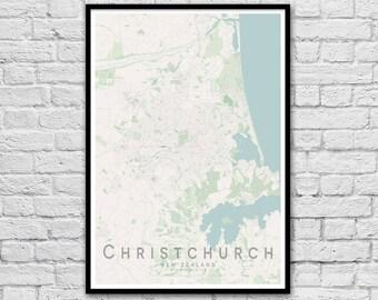 CHRISTCHURCH New Zealand City Street Map Print | Wall Art Poster | Wall decor | A3 A2
