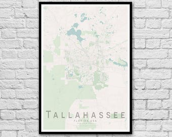 TALLAHASSEE Map Print | United States City Map Print | Wall Art Poster | Wall decor | A3 A2