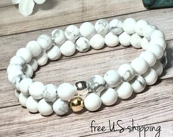 SALE White Howlite Beaded Bracelet, Beaded Bracelets for Women, Bead Bracelet Women, Womens, Silver, Gold, DreamCuff, Free Shipping Jewelry
