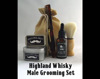 Highland Whisky Mens Grooming Set Fathers Day Male Gift Gentleman Jock Shaving Soap Moustache Wax Comb Male Gent Shaving Natural Facial Hair