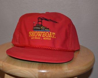Showboat Las Vegas Hat Red Cap Adjustable Leather Strapback Adjustable